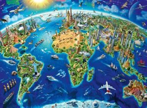 Ravensburger World Landmarks Map Jigsaw Puzzle 200 PCS