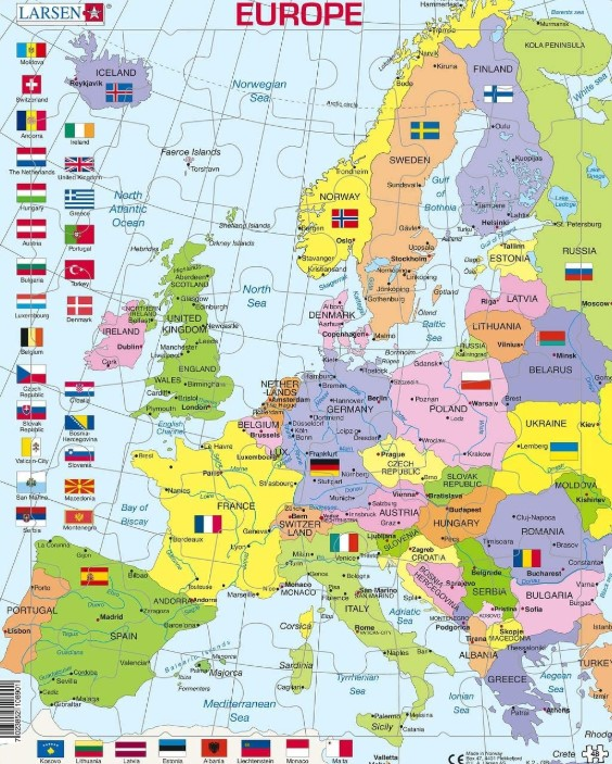 Larsen K2 Europe Political Map 48 PCS