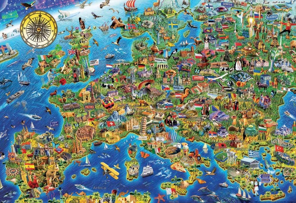 Educa Borras Crazy Europe Map Puzzle 500 PCS