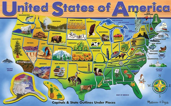 Melissa & Doug USA Map Puzzle 45 PCS