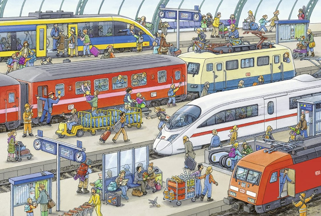 Ravensburger Busy Train Station Puzzle 2 x 24 Pieces