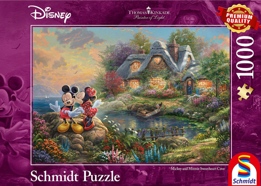 Schmidt Disney Mickey and Minnie Sweetheart Cove by Kinkade Studios 1000 PCS